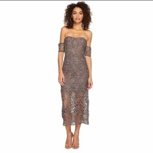 J.O.A. Women's Off The Shoulder Midi Dress Lace Brown Grey Short Skirt Small S